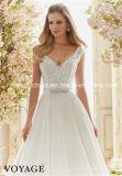Nach Maß Morilee Mori Lee, der glänzt, elegante Spitze-Schutzkappe bördelnd, Sleeves Hochzeits-Kleid (Dream-100050)