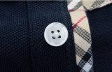 Chemise de polo de chemise de coton de couleur solide longue avec la manchette de côte
