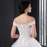 Ball Gown Cap Sleeve Appliques Lace up Wedding Dress (Z-007)