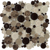 Cozinha de mármore redonda do banheiro da telha do mosaico da mistura do mosaico