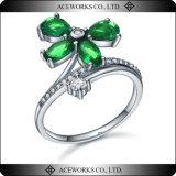 Diente al por mayor de la forma de la flor que fija el anillo de plata 925 con la CZ