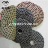 Almofada de polonês seca molhada da resina flexível do diamante de Velcro para o concreto