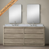Vaidade ajustada clássica do banheiro do gabinete de banheiro da madeira contínua do projeto