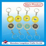 Ouro Metal Keyring Spin Gold 3D Key Chain para Promotion