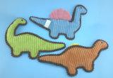 Juguete verde No-Llenado del animal doméstico del dinosaurio de la felpa con traqueteo adentro