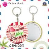 2016 Hot Selling 75mm Lady Gift Keychain Miroir Miroir à miroir portable en étain