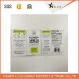 Etiqueta engomada auta-adhesivo impresa transparente de la impresión de la escritura de la etiqueta del papel del vinilo de la etiqueta del código de barras