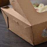 Caixa descartável de primeira qualidade da salada do papel de Brown
