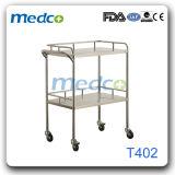 Chariot médical à instrument chirurgical d'hôpital de chariot d'acier inoxydable pour le patient
