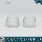 30ml Clear Glass Cylinder Shape Cream Jar with Aluminum Lids
