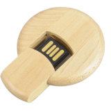 Круглая вспышка USB логоса деревянной гравировки для подарка Weding