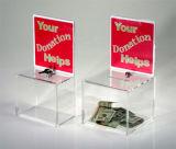 明確なアクリルの寄付ボックスをカスタマイズしなさい
