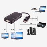 3 in 1 DP zu Konverter-Kabel-Durchfahrt-DP HDMI VGA-DVI Stecker-Adapter Displayport ZUM HDMI VGA-DVI zu VGA/Aduio/HDMI/DVI Tieline
