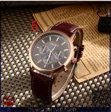 Os relógios de pulso originais novos da cinta de couro do relógio de quartzo do aço inoxidável do projeto Yxl-333 2016 vendem por atacado