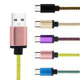 Cable micro trenzado del cargador de la sinc. de los datos del USB del nilón colorido 5V 2A para el teléfono móvil