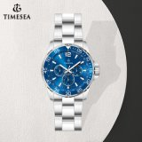 Het blauwe Onderzeese Horloge van het Staal van Stailess van de Kleur, de Lichtgevende Datum van de Dag Horloge 72385 van 24 Uren