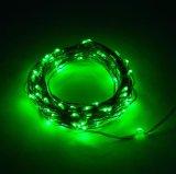 Colore verde del collegare LED di natale della corda della batteria decorativa d'argento dell'indicatore luminoso aa
