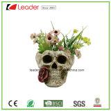 Piantatrici dipinte a mano del cranio di Polyresin per Halloween e la decorazione del giardino