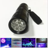 12 LEDの多機能のお金の探知器395nmの紫外線懐中電燈