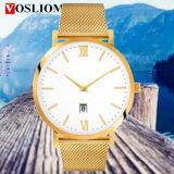 Yxl-499新しいファッション・ウォッチの網ベルトバンドステンレス鋼は人の水晶贅沢な昇進の腕時計を見る