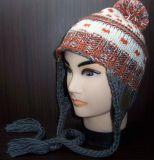 Earflap様式の羊毛の内部および球(1-2264/65/66/68/69)が付いているジャカードによって編まれる帽子の暖かい帽子