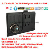 Novo Navegador de PCs com Tablet PCS com Android Quad-Core de 2g / 3G Car Portable com Full HD1080p Car DVR, 2CH Video Recorder; Transmissor FM; AV-in para câmera de estacionamento