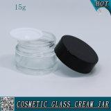 опарник сливк стороны 15g 1/2 Oz прозрачный стеклянный косметический пустой стеклянный