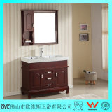 Vanidad del cuarto de baño de Floorstanding de madera sólida del fregadero doble