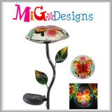 Pieu neuf de jardin de champignon de couche en métal et en verre de modèle