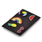 Cadeau en verre Zjp1601 de bijou de goupille de collet de chemise de pivert de pastèque de broche de clip de cravate d'arc-en-ciel de Brooches&Pins d'émail de couleur de mode