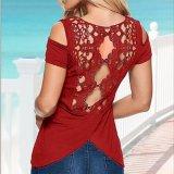 Blusa sin tirantes de la camiseta del cordón de la parte posterior de hueco de las mujeres de la manera