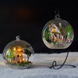 Heetst met het Poppenhuis van de Bal van het Glas van het Meubilair DIY van het Licht en van de Simulatie