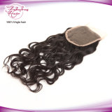 Partes naturais indianas do fechamento da base do laço do cabelo humano da onda do preço de fábrica