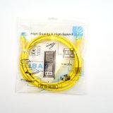 PVC кабеля 1m заплаты CAT6 UTP 7*0.2mm желтый в компьютере