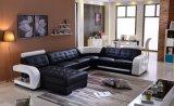 Uの形の黒カラー本革のソファーセット
