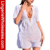 Vestito chiffon puro dal Beachwear di occultamento del costume da bagno del V-Collo di modo delle donne