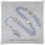 Rose acrylique bleue fabriquée à la main perle le rosaire avec le crucifix (IO-cr268)