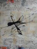 Ligne et peinture à l'huile Mot-Abstraite