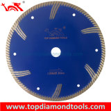 Press caliente Sintered Turbo Diamond Saw Blade con Side Protection Teeth