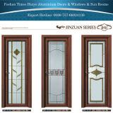 Алюминиевые двери Casement с цветом белого цвета цвета золотистого деревянным