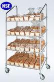 De gehelde Opschortende Fabrikant van het Rek van de Vertoning van het Brood van het Metaal van het Chroom van 5 Rijen