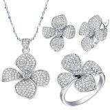 925の純銀製のリングおよびイヤリングの宝石類セット