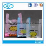 Saco de compra Degradable plástico descartável do t-shirt do HDPE