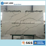 Laje artificial da pedra de quartzo de Calacatta para o material de construção de superfície contínuo do Countertop/da cozinha da parte superior da vaidade
