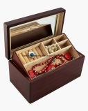 Коробка подарка ювелирных изделий отделки Sapele темного Brown Matt деревянная с подносом