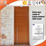 Дверь безопасности дуба нутряная деревянная двойная, дверь конструкции верхней части свода стеклянная французская, одна дверь входа орденской ленты