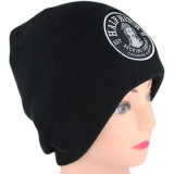 Custom Bordado Patch Black Knit Beanie Hat