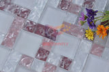 Matt Face Pink avec White Cracked Crystal Mosaic (CCM204)