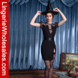 Halloween-Partei-Kleid tiefes V-Stutzen Hexe-Abendkleid Cosplay Kostüm der Frauen