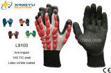 T/C Shell Handschoenen van het Werk van de Veiligheid van de Kreuk de Latex Met een laag bedekte (L9100)